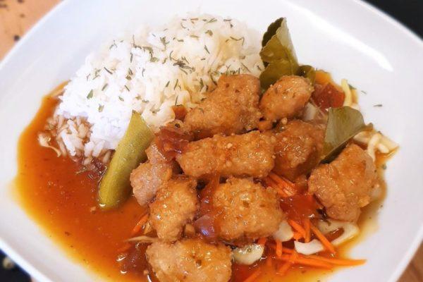 Krydd og kavíar-Djúpsteikt grísakjöt í teriyaki sósu